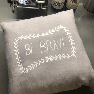 Light Grey Be Brave Throw Pillow
